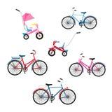 Reeks van zes fietsen voor familie het cirkelen Kleuren vector vlakke illustratie van geïsoleerde fietsen royalty-vrije illustratie