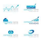 Reeks van zes financiële emblemen Stock Fotografie