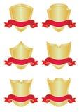 Reeks van zes gouden schilden Stock Illustratie