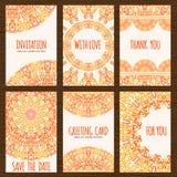 Reeks van zes kaarten met etnisch ontwerp Royalty-vrije Stock Afbeelding