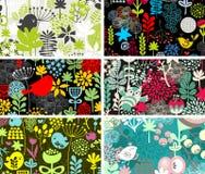 Reeks van zes kaarten met vogels en bloemen. stock illustratie
