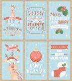 Reeks van zes kaarten van de Kerstmisgroet Royalty-vrije Stock Foto's