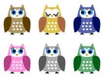 Reeks van zes kleine jonge uilen royalty-vrije illustratie