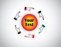 Reeks van zes kleurrijke handen die een cirkelvorm met tekst beschermen Royalty-vrije Stock Afbeelding