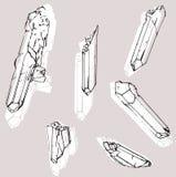 Reeks van zes kristallen Stock Afbeelding