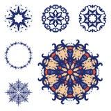 Reeks van zes mandalas Royalty-vrije Stock Afbeeldingen