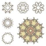Reeks van zes mandalas Stock Afbeeldingen