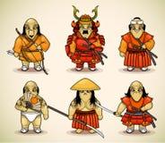 Reeks van zes samoeraien Royalty-vrije Stock Foto's