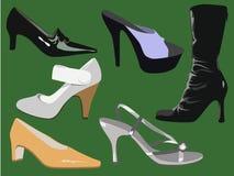Reeks van zes schoenen Stock Foto