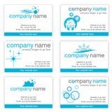 Reeks van zes schoonmakende adreskaartjes Royalty-vrije Stock Foto