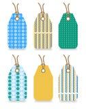 Reeks van zes stickers met naadloos patroon - blauw Royalty-vrije Stock Afbeeldingen