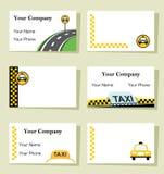Reeks van zes taxiadreskaartjes Stock Afbeeldingen