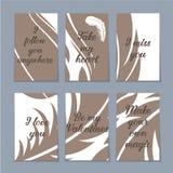 Reeks van zes Valentine-kaarten Stock Foto