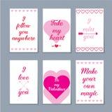 Reeks van zes Valentine-kaarten Stock Foto's