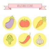 Reeks van zes vector plantaardige pictogrammen lineaire stijl Stock Foto's