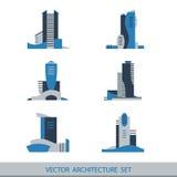 Reeks van zes vectorsilhouetten van wolkenkrabbers Stock Afbeeldingen