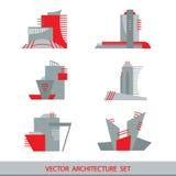Reeks van zes vectorsilhouetten van wolkenkrabbers Royalty-vrije Stock Foto's