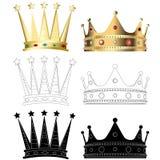 Reeks van zes verschillende kronen Stock Afbeelding