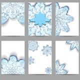 Reeks van zes vliegers Het ontwerp van Kerstmis Een patroon van sneeuwvlokken royalty-vrije illustratie