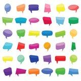Reeks van zesendertig kleurrijke de toespraakbellen van beeldverhaal grappige ballons zonder uitdrukkingen royalty-vrije illustratie
