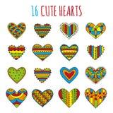Reeks van zestien decoratieve harten met verschillende heldere kleurrijke patronen op een witte achtergrond Stock Foto's