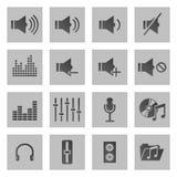 Reeks van zestien geluid en muziekpictogrammen Stock Foto