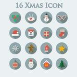 Reeks van zestien pictogrammen van Kerstmis Stock Foto