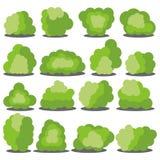 Reeks van zestien verschillende beeldverhaal groene die struiken op witte achtergrond wordt geïsoleerd stock illustratie