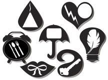 Reeks van zeven vermakelijke pictogrammen Royalty-vrije Stock Afbeelding