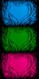 Reeks van zijde gevouwen hartvorm Stock Afbeelding