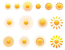 Reeks van zon. Vector. Stock Afbeeldingen