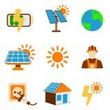 Reeks van Zonne-energiepictogram Energieetiket voor Web op witte backgrou stock illustratie
