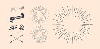 Reeks van zonnestraal, uitstekende grafische elementen Stock Afbeeldingen