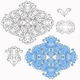 Reeks van zwart en blauw bloemenpatroon Vector illustratie Stock Foto's