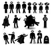 Reeks van zwart karakter in verschillende situaties met verschillende emoties Stock Afbeeldingen