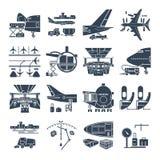 Reeks van zwart pictogrammenluchthaven en vliegtuig, vracht stock illustratie