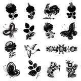 Reeks van zwart silhouet Stock Afbeeldingen