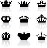 De kroonpictogrammen van de koning stock illustratie