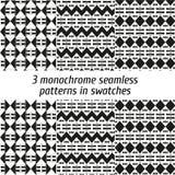 Reeks van 3 zwart-wit naadloze patronen in monsters Stock Foto's