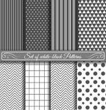 Reeks van zwart wit Patroon Stock Foto