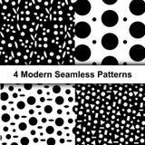 Reeks van Zwart-wit Polka Dot Seamless Patterns stock illustratie