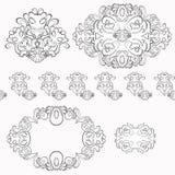 Reeks van zwart-witte bloemenpatroon Vector illustratie Stock Fotografie
