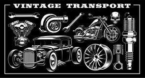 Reeks van zwart-witte illustratie van uitstekend vervoer royalty-vrije illustratie