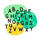 Reeks van zwarte brievengeometrics, alphabeth voor uw die ontwerp op witte achtergrond wordt geïsoleerd stock illustratie