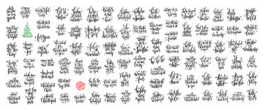 Reeks van 100 zwarte inktkerstmis en gelukkige nieuwe jaarviering Vector Illustratie