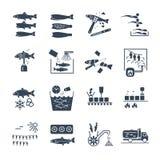 Reeks van zwarte pictogrammen verwerking van vissen stock illustratie