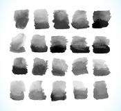 Reeks van zwarte vectorwaterverfvlek stock illustratie