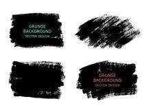 Reeks van zwarte verf, de slagen van de inktborstel, borstels, lijnen Vuil art. Stock Afbeelding