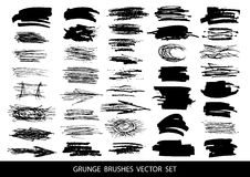 Reeks van zwarte verf, inkt, grunge, vuile borstelslagen Vector illustratie stock illustratie