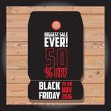 Reeks van Zwarte vrijdagverkoop Zwarte vrijdagbanner De banner van de verkoop schijf Stock Foto
